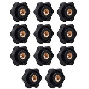 14 Pièces Bouton de Serrage de Filetage Plastique Noir, Poignée Serrage Préhension, Boutons de Serrage en Forme D'étoile, pour Équipement Mécanique, Équipement de Machine Outil