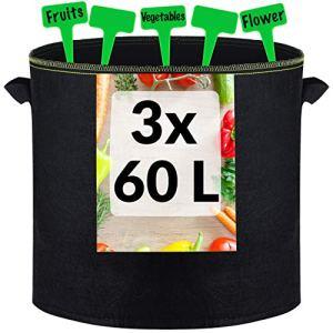 3 Grands Sacs de Plantation en Geotextile 60L avec Poignées – 3 Étiquettes – Pots pour Tomates, Poivrons, Carottes