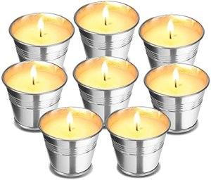 8 Bougies De Saveur De Cire De Soja, Bougies De Citronnelles, Bougies De Parfum Citroneline, Viande De Cire De Citron pour Jardin, Terrasse, Fête, Camping, Yoga