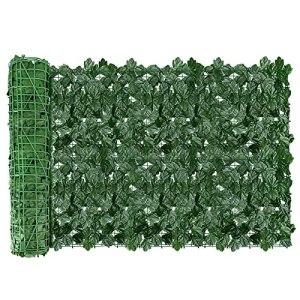 AGJIDSO Clôture Artificielle de Feuilles de Lierre artificielles,24pc30*50 Écran de clôture antivol de Jardin extérieu,Mur Vegetal clôtures décoratives Faux Fond d'écran d'herbe(Feuille d'érable)