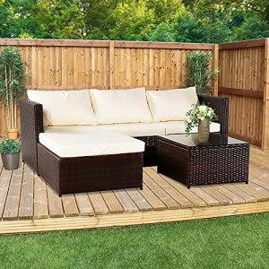 ARONTOME Ensemble de meubles d'extérieur en rotin 3 pièces, canapé d'angle 4 places, mobilier de terrasse, marron dégradé, cadre en métal, avec table basse et coussin beige