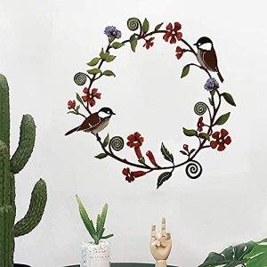 Art mural de couronne de fleurs de mésanges, décoration de guirlande d'oiseau en métal, art de mur de fleur et d'oiseau d'art déco, utilisé pour la décoration de porche de porte d'entrée de cuisine