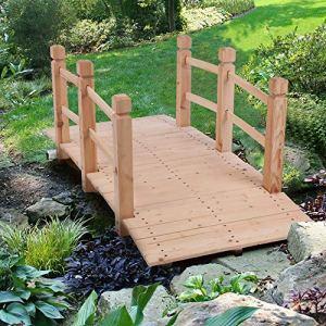 BELUAPI Pont de jardin classique en bois avec garde-corps, pont décoratif pour étang, pont de jardin ou décoration rustique de ferme de 1,5 m