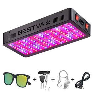 BESTVA Lumière de croissance 1500 W, double puce LED, série Full Spectrum lampe de croissance 1200 W (rectangulaire) noir