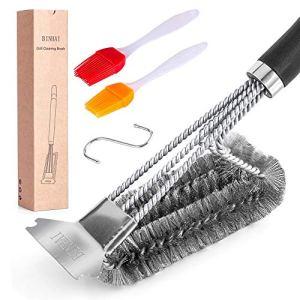Binhai Brosse de nettoyage pour spatule de barbecue – 1 brosse de nettoyage et 2 brosses à huile – Brosse robuste à 3 branches en acier inoxydable