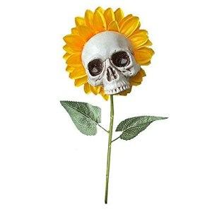 BIUBIULOVE Tournesol de Simulation de tête de crâne – Fleur de Conception de tête en Forme de crâne de résine Moderne, Accessoires de décoration de scène d'horreur pour Halloween