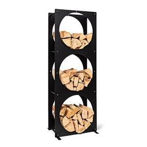 BLUMFELDT Trio Circulo – rangement en bois, étagère en acier 3 mm, résistant aux intempéries, pour l'intérieur et l'extérieur, avec 3 compartiments de rangement, 55 x 160 x 30 cm – noir