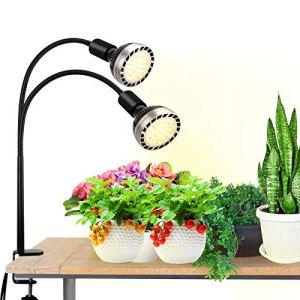 Bozily 300W Lampe LED Horticole de Croissance pour Plantes d'intérieur, Lampe de Culture à Spectre Complet LED Grow Light, 4 Lumières de Plantes Dimmables Semblables au Soleil, 2 Ampoules Remplaçables