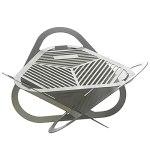 Brasero mobile en acier inoxydable – 44 x 42 cm – Brasero de jardin pliable – Pour terrasse et jardin