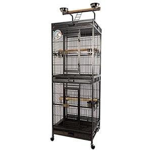 Cage à Oiseaux Oiseaux à double couche La grande grille de munna cockatiel peut être utilisée à l'intérieur et à l'extérieur, il convient aux grands oiseaux ou aux troupeaux d'oiseaux. Nichoirs