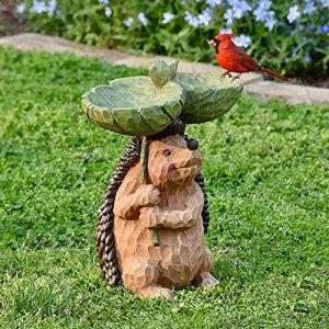 Chahu Bain d'oiseau en résine en forme de hérisson, pour activités en plein air