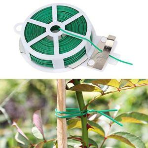 chaoxiner 1 fil de fixation de jardin de 50 m, attaches torsadées avec cutter pour le jardinage, la maison, le bureau (vert)