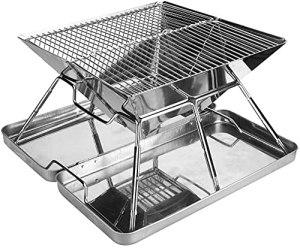 Dengbang Barbecue au Charbon de Bois, Accessoires de Barbecue pliants Portables en Acier Inoxydable pour 3 à 4 Personnes, Camping en Plein air, Pique-Nique, Patio, Jardin