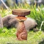 Dingyue Bain d'oiseaux en résine en forme de renard ou d'oiseaux pour activités en plein air