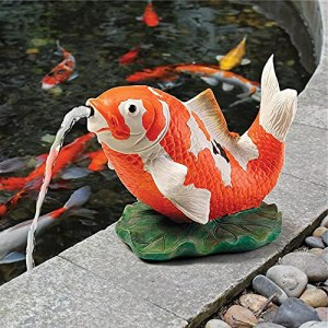 Dingyue Statue de carpe en résine peinte à la main pour décoration de fontaine de rocaille