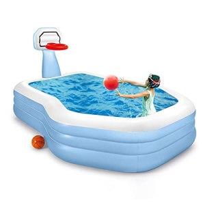 Edinber Piscine gonflable avec supports de basket-ball pour enfants, piscine gonflable familiale de grande taille pour enfants et adultes, fête d'eau d'été