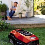 Einhell Tondeuse robotisée FREELEXO 450 BT SOLO Power X-Change (Li-Ion, 18 V, 450 m², tondeuse multizone, Bluetooth App, avec accessoires d'installation, avec 2.5 Ah batterie)