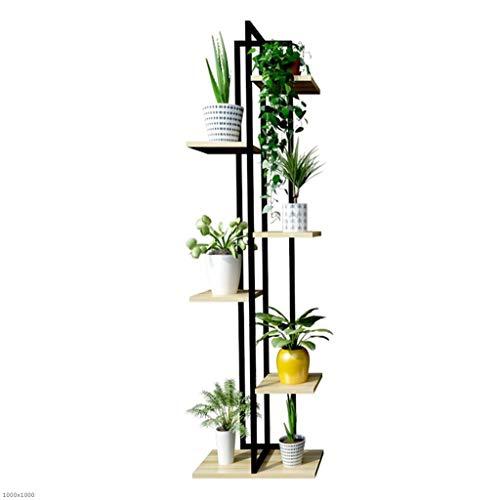Etagère de Fleur Jardinière Type De Sol Intérieur/Extérieur De La Maison De La Fleur Stand De Fleurs en Bois Cadre en Acier Noir + Panneau De Couleur Noyer (Taille : L)