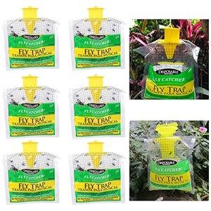 Extérieur Non-Toxique de Piège de Mouche Sac,Attrapeur Jetable de Mouche Piège à Insectes Suspendus Style Lutte Antiparasitaire,Il Suffit D'ajouter de l'eau SJASD,6Pcs