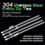 FIDALIKA Dix 0PCS Câble De Verrouillage Polyvalent Cadre Zippée en Métal, Cravate Zippée Auto en Acier Inoxydable (Size : 4.6mmX350mm)