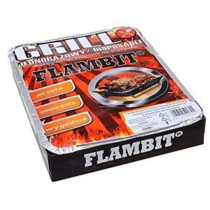 flambit einweggrill to go, avec anzüghilfe, charbon de bois, aluschale, pack de 3 (3 Grille)