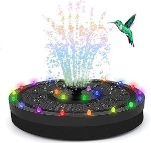 Fontaine Solaire Extérieur 3.5W avec Lumières Colorées LED et Batterie et 7 Buses, Pompe de Fontaine Solaire pour Bain d'oiseaux Aquarium Jardin