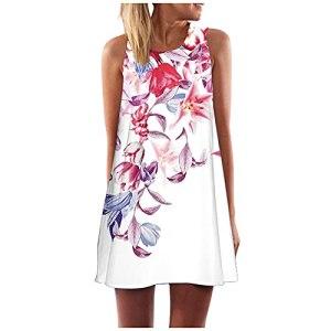 Fulltime® Robe d'été pour Femmes/Femmes Vintage Boho Robe d'été Boho sans Manches Beach Printing Short Mini Robe (Blanc,L)