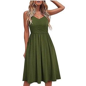 Fulltime® Robe d'été/col en V pour Femme Pure Casual à Lacets Sling Temperament Robe au Genou/Robe de Plage (Green,S)