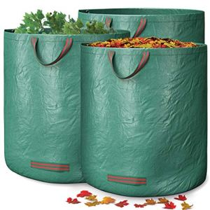 GardenGloss® 3X Sacs à Déchets de Jardin Avec Poignées – 272L Haute Capacité et Double Fond – Stable Aux UV et Hydrofuge – Sac de Jardin Réutilisable et Stable