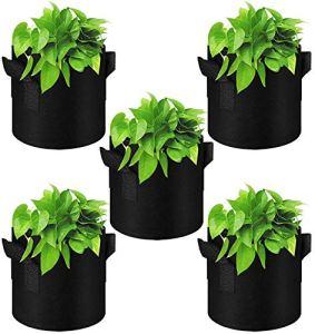 GiantGo Lot de 5 sacs de culture de 7,9 litres avec poignées – Tissu non tissé très résistant, aération épaisse, durable – pour la culture de pommes de terre, etc. – Volume : 7,6 litres, noir
