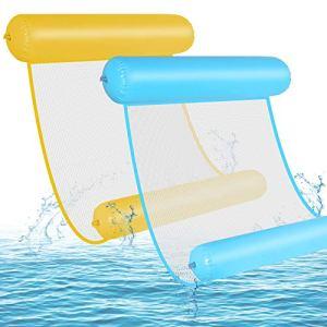GOLDGE Hamac d'eau Gonflable, 2PCS Floattant Hamac 4 -en-1 Hamac Gonflable Piscine, Pliable Flottantes Hamac Flotteur Ultraléger, Chaise Longue Flotteur pour Adulte Plage Partie Vacances