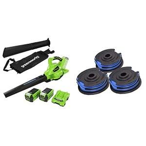 Greenworks Aspirateur et souffleur de feuilles sans fil 2en1 GD40BVK2X de (Li-Ion 40V incl. 2 batteries 2Ah et chargeur) & Lot de 3 Bobines de fil pour coupe-bordure, Vert, 6 m x 1,6 mm