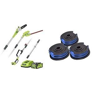 Greenworks Batterie Taille-Haie Haut de Gamme et Télescopique 2 en1 G40PSHK2 & Greenworks Bobine double de cordon pour tondeuses à gazon (1,65 mm de diamètre, 4,8 m de cordon par bobine)