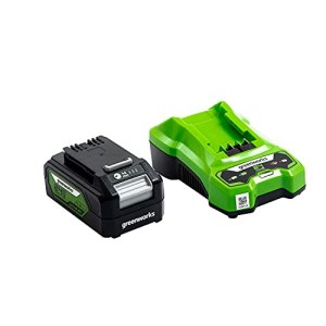 Greenworks Tools Batterie G24B4 et Chargeur G24UC (Li-Ion 24V 4Ah 60W puissance 120 minutes de temps de charge à 4Ah adaptée à tous les appareils de la série 24V)