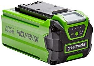 Greenworks Tools Batterie G40B25 (batterie puissante rechargeable Li-Ion 40 V 2,5 Ah adaptée à tous les appareils de la série 40 V Greenworks Tools) Vert 2925807