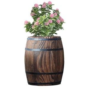 GZHENH Jardinières en Baril,Tonneau De Whisky en Bois Imitation Bois Tonneau De Plantes pour La Terrasse Intérieure Extérieure De Jardin De Maison, 8 Tailles (Color : Brown, Size : 25x18cm)