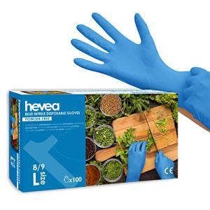 Hevea – Gants en nitrile jetables. Sans talc et sans latex. Lot de 5 boîtes de 100 gants chacune. Taille : L (Grande). Couleur : bleu