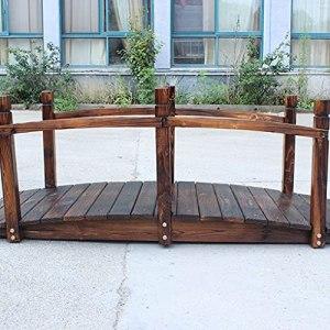 HLTER Pont de jardin en bois classique avec garde-corps de sécurité, vue décorative pour étang, ruisseau ou ferme