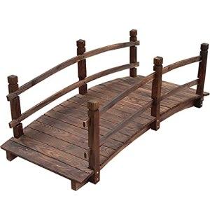 HLTER Pont en bois massif carbonisé anticorrosion pour cour, décoration extérieure, parc, loisirs