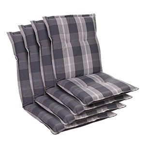 Homeoutfit24 Prato – Coussin de Chaise de Jardin, Fabrique en Europe, Confortable, Resistant aux UV, Housse Douce, 4 pièces – Gris Clair/Gris
