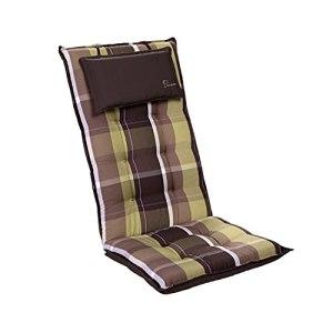 Homeoutfit24 Sylt – Coussin de Chaise de Jardin, Fabrique en Europe, Résistant aux UV, Coussin de tête Amovible, 1 pièce – Marron/Vert
