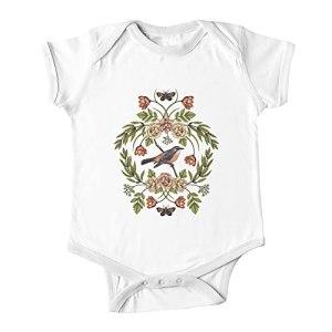 Huang In The Garden – Motif nature avec oiseaux, fleurs et mites pour bébé – Blanc – 9 mois