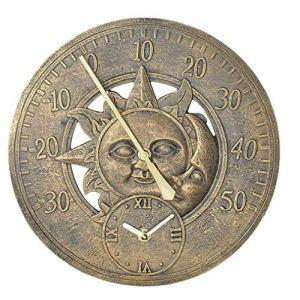Jardin Thermomètre extérieur Horloge Vintage mur Horloge de station de décoration rétro suspendu horloge Motif étanche Sun Moon