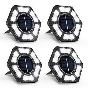 J-ouuo Lampes solaires au Sol, 12 LED solaires de Jardin s'allument en Plein air étanche Trottoir Paysage éclairage Lampe au Sol pour pelouse Patio Voie Cour
