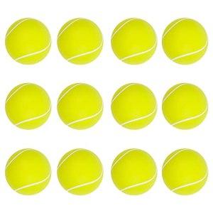 Kaimeilai 12 Pièces Balles de Tennis en Mousse, Jouets Relaxable Balle de Tennis, Sponge Antistress Balls Softball Soft Tennis Balls, pour Enfants Adultes Enfants (Jaune, 63mm)
