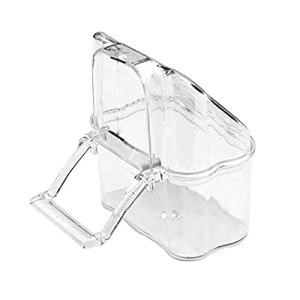 kangzhiyuan Mangeoire à oiseaux en plastique transparent avec gamelle en silo pour eau propre – Accessoires pour perruches – Blanc