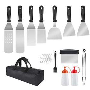 Kit Spatule Barbecue, 23 Pièces Accessoires Barbecue Ustensiles pour Plancha BBQ Spatules Set et Grattoir à Gril Flipper Acier Inoxydable pour Teppanyaki
