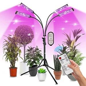 Lampe Horticole Plante, 420 LED Lampe Croissance Spectre Complet avec Support, Chronométrage Intelligent, 9 Niveaux à Intensité Variable, Utilisée pour les Semis /Enracinement/Floraison (Noir-Carré)
