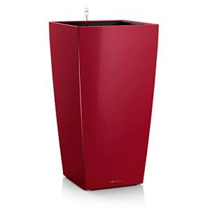 Lechuza – Cubico Premium – Pot avec réserve d'eau intégrée – Rouge laqué – 39,5 x 39,5 x 75,5 cm