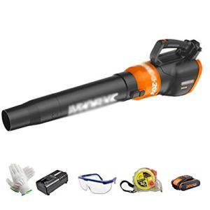 Lee 54067 ADKINC 20 V Lithium ION (Li-ION) 400 CFM, 140 MPH, souffleur de Feuilles électrique sans Balai sans Brosse avec Batterie + Chargeur – Batterie 2.0Ah / 4.0Ah, Orange